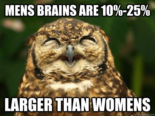 mens brains are 10%-25% larger than womens