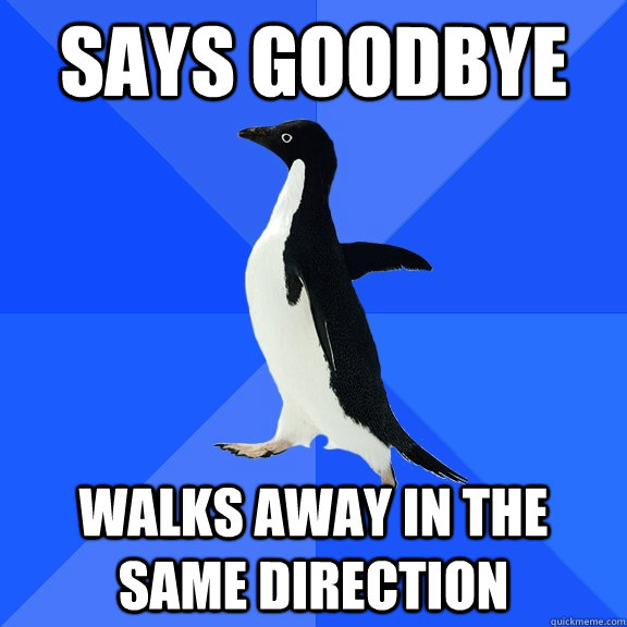 Says goodbye walks away in the same direction - Says goodbye walks away in the same direction  Socially Awkward Penguin