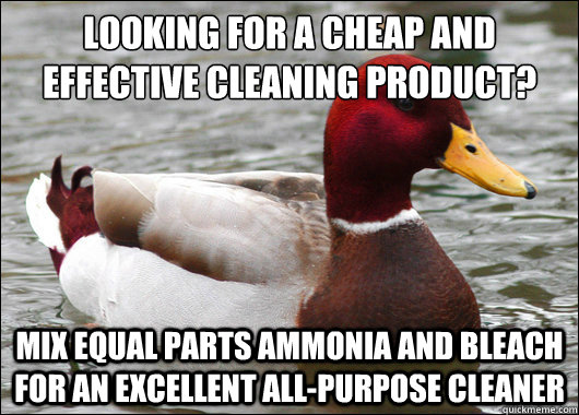 Looking for a cheap and effective cleaning product?  Mix equal parts ammonia and bleach for an excellent all-purpose cleaner - Looking for a cheap and effective cleaning product?  Mix equal parts ammonia and bleach for an excellent all-purpose cleaner  Malicious Advice Mallard