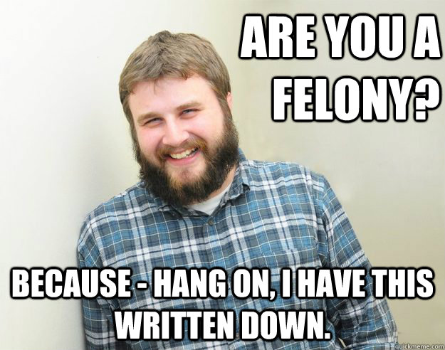 Are you a felony? Because - hang on, I have this written down.