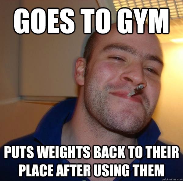 goes to gym puts weights back to their place after using them - goes to gym puts weights back to their place after using them  Misc