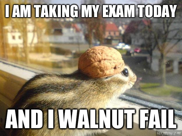 I am taking my exam today And I walnut fail