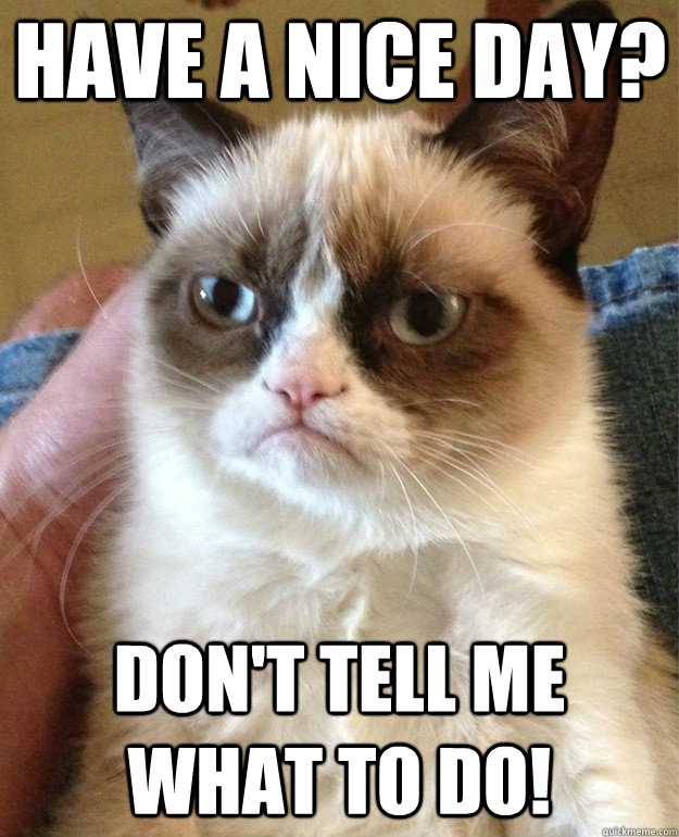 Have a nice day? Don't tell me what to do! - Have a nice day? Don't tell me what to do!  Grumpy Cat