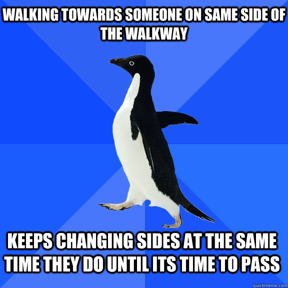 Walking towards someone on same side of the walkway Keeps changing sides at the same time they do until its time to pass   - Walking towards someone on same side of the walkway Keeps changing sides at the same time they do until its time to pass    Socially Awkward Penguin
