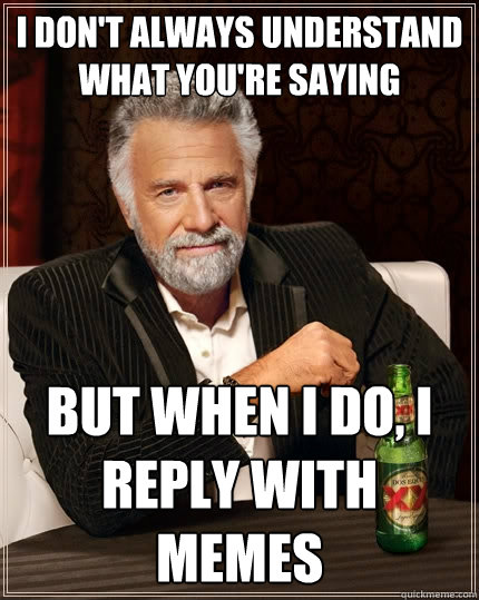 I don't always understand what you're saying But when I do, I reply with memes  The Most Interesting Man In The World