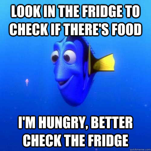 Look in the fridge to check if there's food I'm hungry, better check the fridge - Look in the fridge to check if there's food I'm hungry, better check the fridge  dory