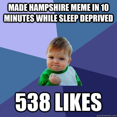 Made Hampshire meme in 10 minutes while sleep deprived 538 likes - Made Hampshire meme in 10 minutes while sleep deprived 538 likes  Success Kid