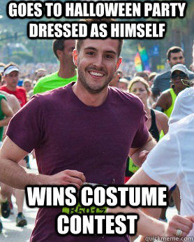 Goes to halloween party dressed as himself wins costume contest
