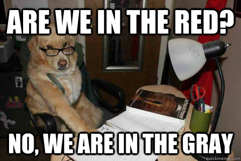 Are we in the red? No, we are in the gray - Are we in the red? No, we are in the gray  Financial Advice Dog