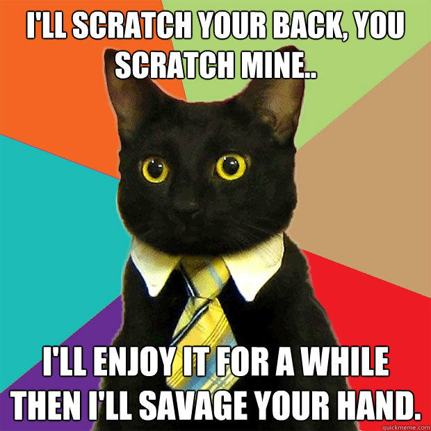 I'll scratch your back, you scratch mine.. I'll enjoy it for a while then I'll savage your hand.  - I'll scratch your back, you scratch mine.. I'll enjoy it for a while then I'll savage your hand.   Business Cat