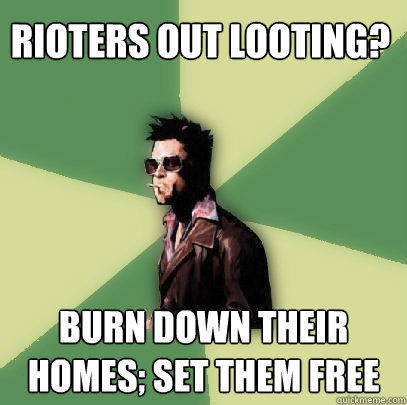 Rioters out looting? Burn Down their homes; set them free  Helpful Tyler Durden