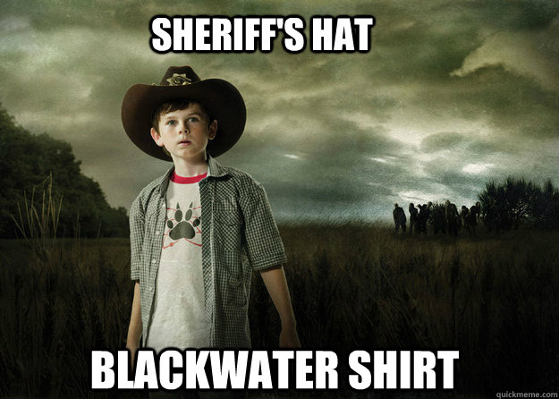 sheriff's hat  blackwater shirt  Carl Grimes Walking Dead