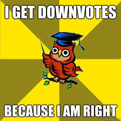 I get downvotes because i am right - I get downvotes because i am right  Observational Owl