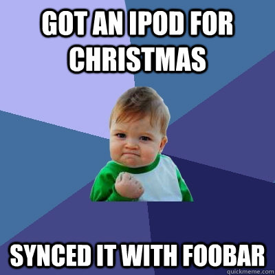 got an ipod for christmas synced it with foobar - got an ipod for christmas synced it with foobar  Success Kid
