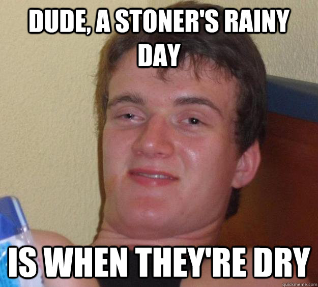 dude, a stoner's rainy day is when they're dry - dude, a stoner's rainy day is when they're dry  10 Guy