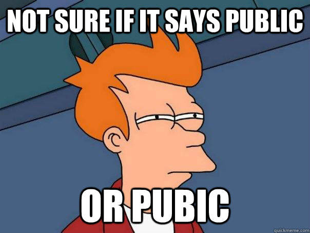 Not sure if it says public or pubic - Not sure if it says public or pubic  Futurama Fry