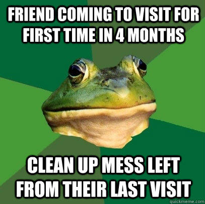 Friend coming to visit for first time in 4 months Clean up mess left from their last visit - Friend coming to visit for first time in 4 months Clean up mess left from their last visit  Foul Bachelor Frog