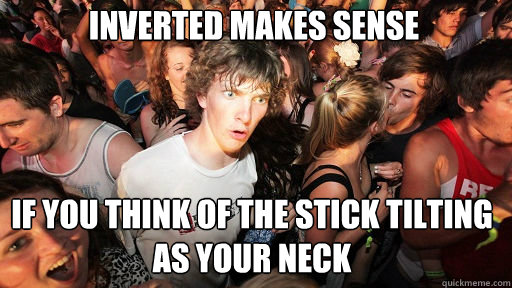 Inverted makes sense If you think of the stick tilting as your neck - Inverted makes sense If you think of the stick tilting as your neck  Sudden Clarity Clarence