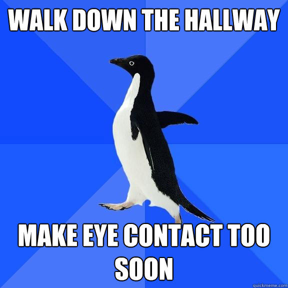 Walk down the hallway Make eye contact too soon - Walk down the hallway Make eye contact too soon  Socially Awkward Penguin