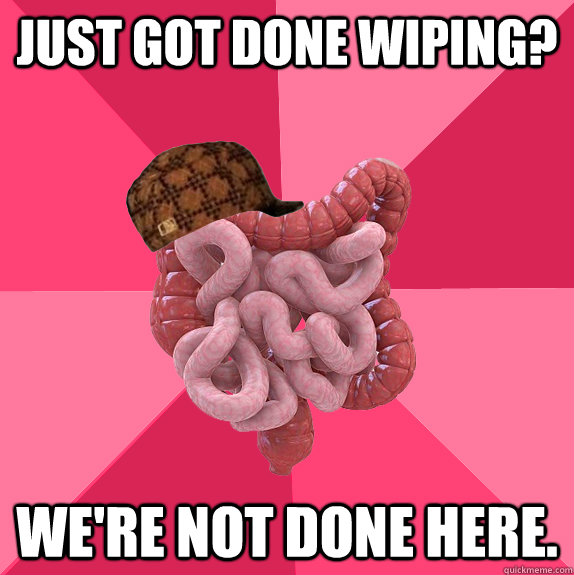 Just got done wiping? We're not done here. - Just got done wiping? We're not done here.  Scumbag Intestines