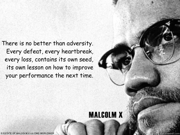 There is no better than adversity. Every defeat, every heartbreak, every loss, contains its own seed, its own lesson on how to improve your performance the next time.  Malcolm X