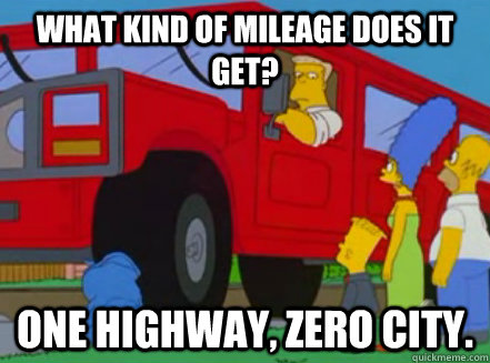 What kind of mileage does it get? One highway, zero city. - What kind of mileage does it get? One highway, zero city.  Misc