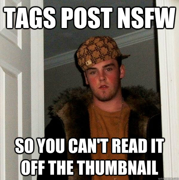 Tags Post NSFW So you can't read it off the thumbnail - Tags Post NSFW So you can't read it off the thumbnail  Scumbag Steve