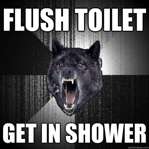 flush toilet get in shower - flush toilet get in shower  Insanity Wolf