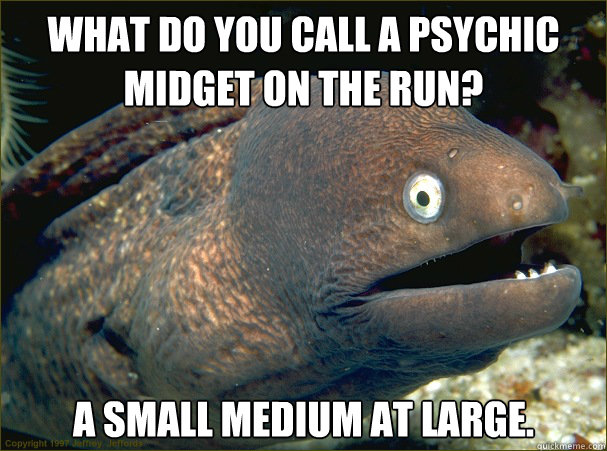 what do you call a psychic midget on the run? a small medium at large. - what do you call a psychic midget on the run? a small medium at large.  Bad Joke Eel
