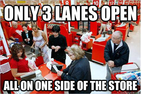 Only 3 lanes open All on one side of the store - Only 3 lanes open All on one side of the store  Scumbag Target