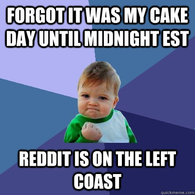 forgot it was my cake day until midnight est reddit is on ...