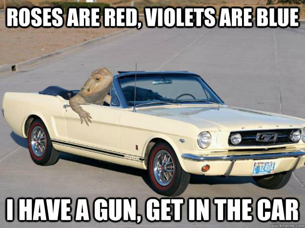 Roses are red, Violets are blue I have a gun, get in the car