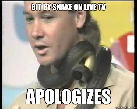 Bit by snake on live tv apologizes