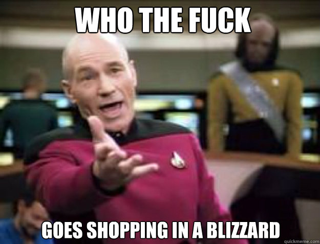 Who the fuck Goes shopping in a blizzard