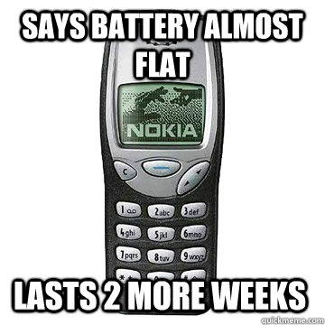 says battery almost flat lasts 2 more weeks - says battery almost flat lasts 2 more weeks  Nokia