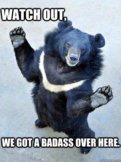 watch out we got a badass over here badass bear. Black Bedroom Furniture Sets. Home Design Ideas