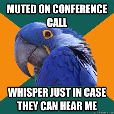 Muted on conference call whisper just in case they can hear me - Muted on conference call whisper just in case they can hear me  Paranoid Parrot
