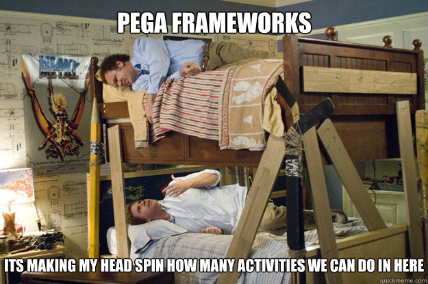 its making my head spin how many activities we can do in here PEGA Frameworks