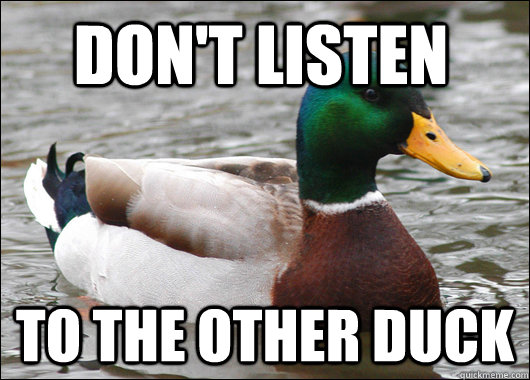Don't listen To the other duck - Don't listen To the other duck  Actual Advice Mallard