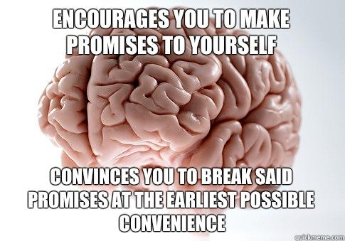 Encourages you to make promises to yourself Convinces you to break said promises at the earliest possible convenience - Encourages you to make promises to yourself Convinces you to break said promises at the earliest possible convenience  Scumbag Brain
