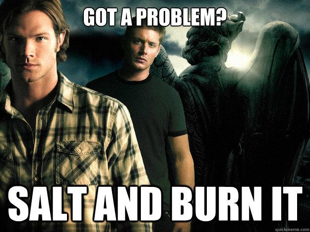 Got a problem? Salt and burn it - Got a problem? Salt and burn it  Its the supernatural way