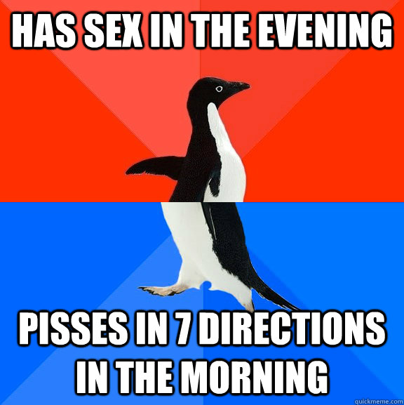 Has sex in the evening pisses in 7 directions in the morning - Has sex in the evening pisses in 7 directions in the morning  Socially Awesome Awkward Penguin
