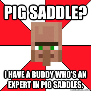 Pig Saddle? I have a buddy who's an expert in pig saddles.