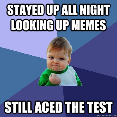 Stayed up all night looking up memes still aced the test - Stayed up all night looking up memes still aced the test  Success Kid