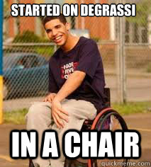 started on degrassi  in a chair