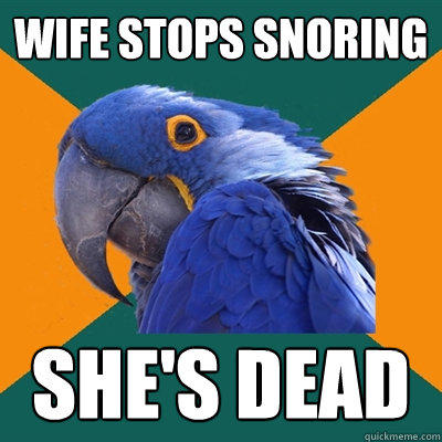 Wife stops snoring  She's dead - Wife stops snoring  She's dead  Paranoid Parrot