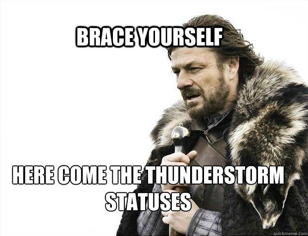 f57609c8e9c35f1db76157839505bb683b27c257c6fa40f534b082bb7458464f brace yourself here come the thunderstorm statuses brace