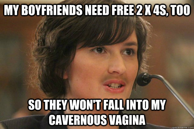 My boyfriends need free 2 x 4s, too So they won't fall into my cavernous vagina - My boyfriends need free 2 x 4s, too So they won't fall into my cavernous vagina  Slut Sandra Fluke