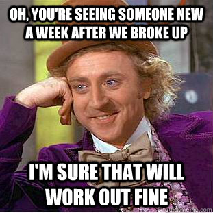 Oh, you're seeing someone new a week after we broke up I'm sure that will work out fine - Oh, you're seeing someone new a week after we broke up I'm sure that will work out fine  Condescending Wonka