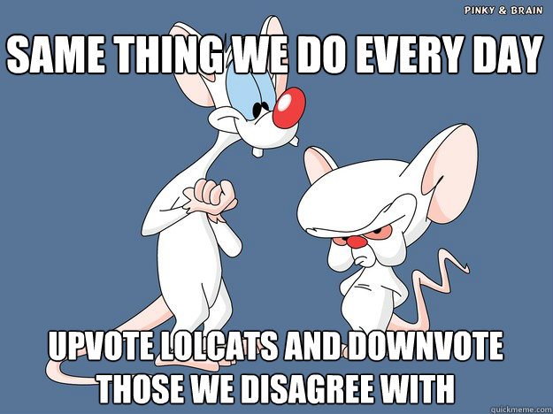 SAME THING we DO EVERY DAY upvote lolcats and downvote those we disagree with - SAME THING we DO EVERY DAY upvote lolcats and downvote those we disagree with  Pinky and the Brain